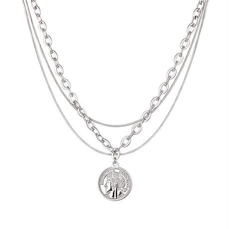 Triple chain coin necklace/トリプルチェーン コイン ネックレス(2color)