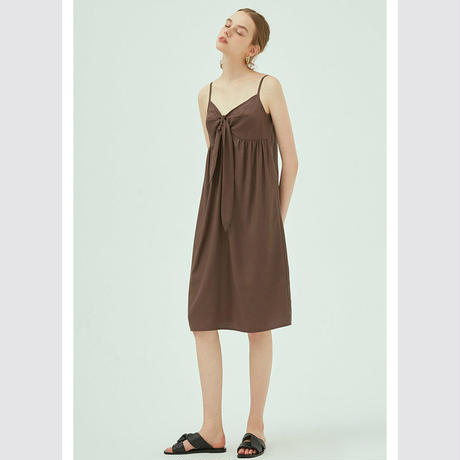 front ribbon brown strap dress/フロントリボン ブラウン ストラップワンピース
