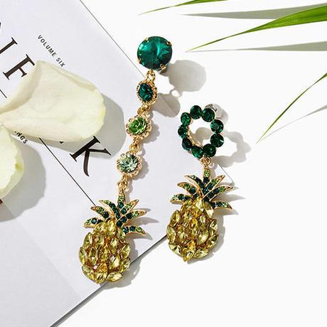pineapple bijou earrings/パイナップル ビジュー ピアス