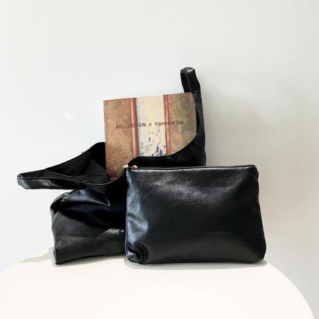 Eco leather hand bag/エコレザー ハンドバッグ(2color, ポーチ付)
