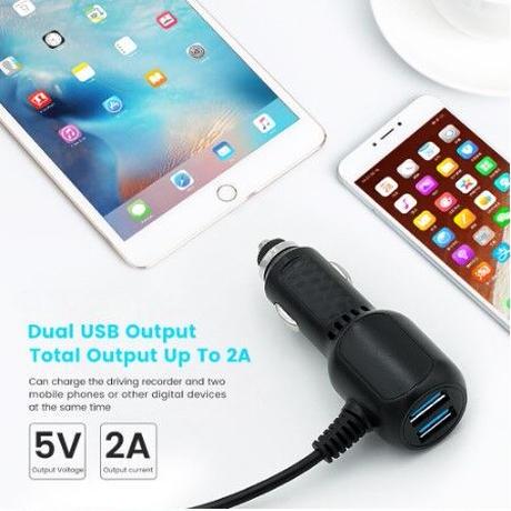 シガーソケット 電源ケーブル ミニUSB USB2ポート 5V 2A カーチャージャー アダプター ドライブレコーダー GPSナビ ドラレコ
