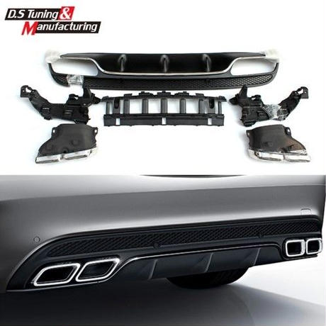 リアバンパーディフューザー W205 AMG メルセデスベンツ benz 4アウトレット エキゾーストチップ