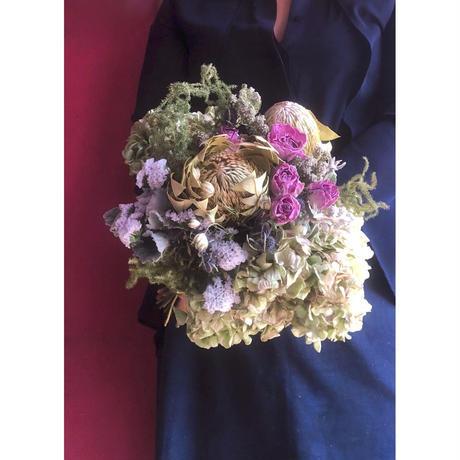 【即納】バンクシャと紫陽花のクラッチブーケ&ブトニアセット(ドライフラワー)