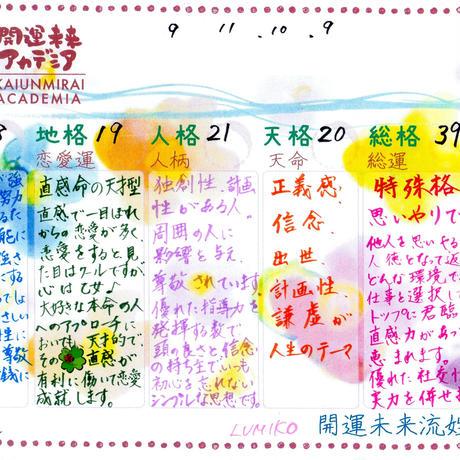 心に火を灯す、開運未来流姓名判断鑑定書 1名様分2000円(PDFメール送信、郵送も可能!)