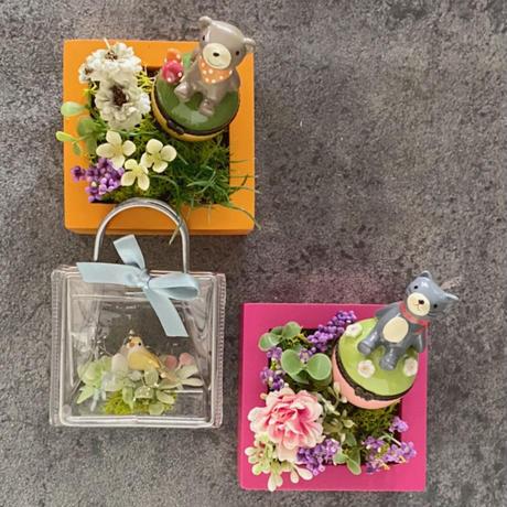 ハンドメイドキット /陶器の小物入れ・乳歯ケース付きのボックスアレンジ/クマ・猫 /アーティフィシャルフラワースクエアアレンジ・ネコ・クマが好きな人への贈り物