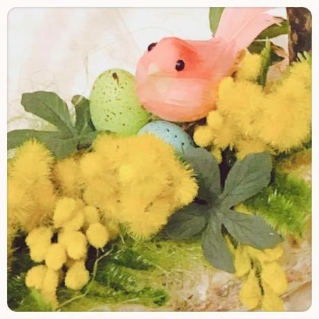 ミモザのアレンジ イースターに 春の喜びいっぱい♡フラワーアレンジメント ディスプレイ 贈り物