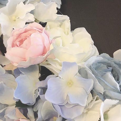 ブルーホワイト&ピンク、バラと紫陽花のシャビーシックなふんわりリース・アーティフィシャルフラワー