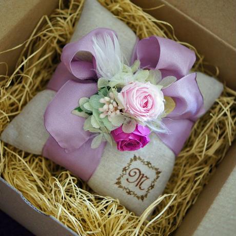 プリザーブドフラワー、バラとあじさい、リボン付サシェ、天然のラベンダーの香り