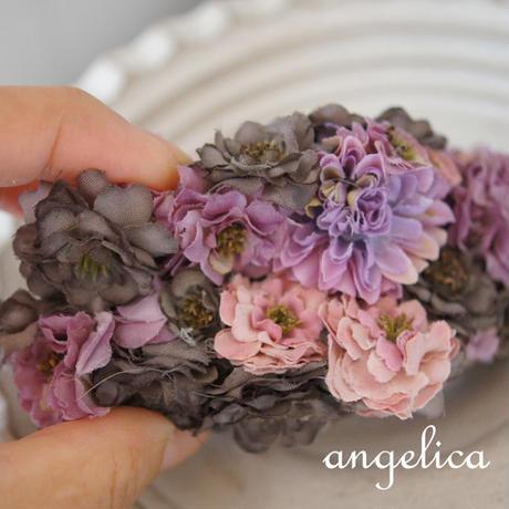 大人かわいいアンティーク調のお花バンスクリップ ヘアオーナメント、フラワーバレッタ