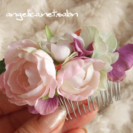 アーティフィシャルフラワー バラのコーム髪飾り オールドローズ ヘアアクセサリー ピンク オールドローズの ヘアオーナメント
