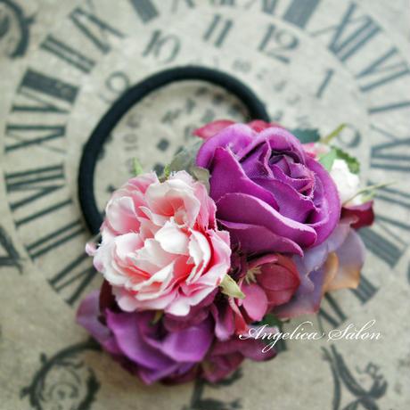 期間限定特別割引!大人可愛いヘアゴム/パープルのバラ、ピンク・お出かけに、卒業式/入学式/お誕生日プレゼント・