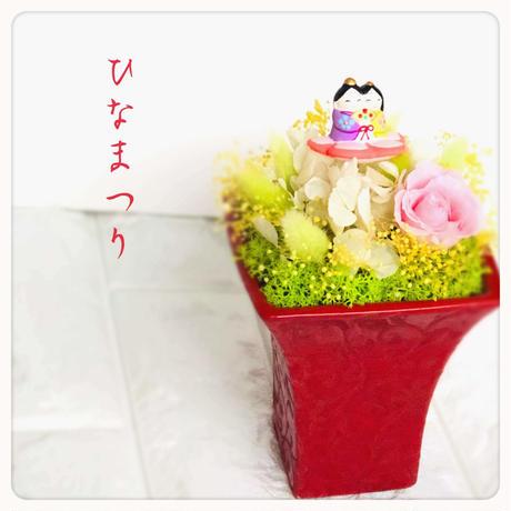 初節句♡ ひな祭りプリザーブドフラワーアレンジ 紫陽花、ピンクの桜色のバラ、黄色いミモザのようなかすみ草 ウエディングウエルカムコーナー