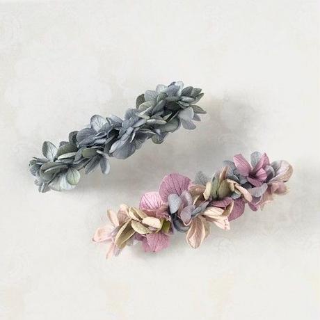 本物のあじさいのバレッタ/シャビーシックな大人お花の髪飾り/ ボタニカル/プリザーブドフラワー 梅雨のヘアアクセサリー