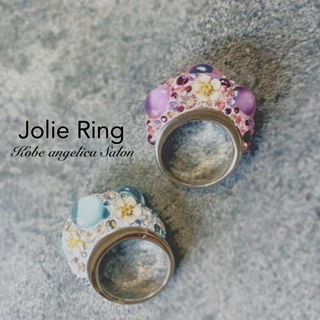 20201年ラッキーカラーラベンダー色の指輪/クリスタル・スワロフスキーの優雅でスイートリング・まあるいカボションのガラス、お花・スワロフスキー・を詰め込んだ【Jolie Ring】ジョリーリング