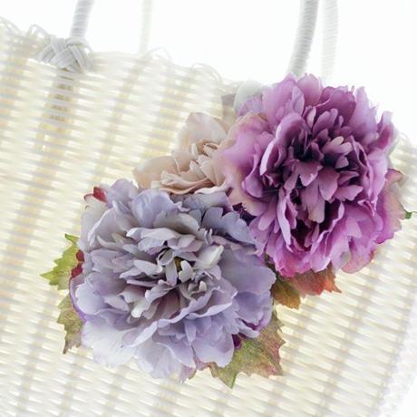 軽いPP素材 エレガントなお花のストローバッグ お花ちょっと多目タイプ