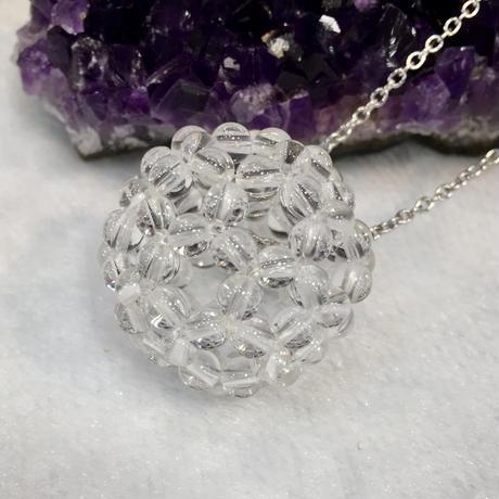 水晶バッキーボール(神聖幾何学フラーレン) ステンレス製チェーン付きペンダント