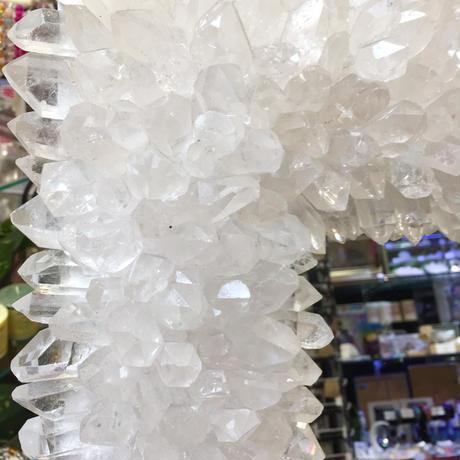 強力な魔除けと浄化! 水晶ポイント大型ミラー