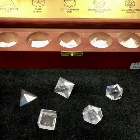木箱入り プラトン立体セット 水晶