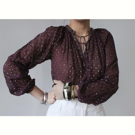 1970s indian cotton glitter blouse