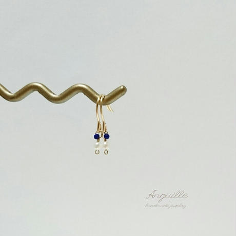 14kgf*Petite Earrings [Fresh Water Pearls & Lupis Luzuli]*
