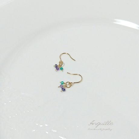 14kgf*Petite Earrings [Iolite&Amethyst&GreenOnyx(B)]*