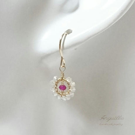 14kgf*Petite Flower Earrings[Ruby & Crystal]*