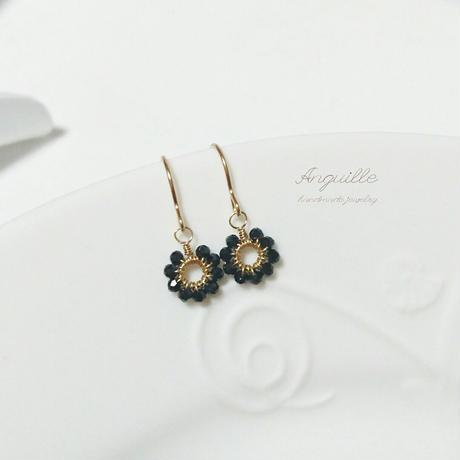 14kgf*Petite Earrings [Flower Black Spinel]*