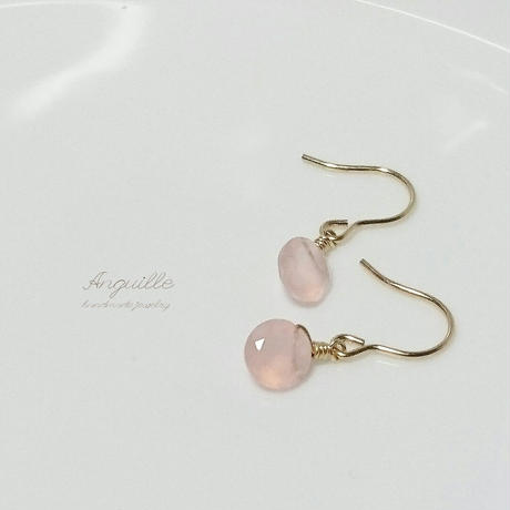 14kgf*Petite Earrings [Facet Cut Pink Chalcedony]*