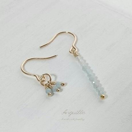14kgf*Figure One Asymmetry Earrings[Aquamarine]*