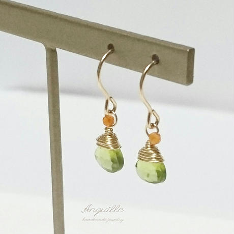 14kgf*One Point Earrings[Peridot & Carnelian]*