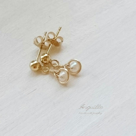 14kgf*Maru Earrings  [Fresh Water Pearls]*