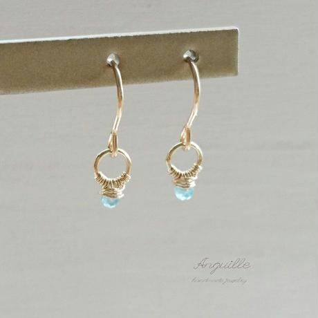 14kgf*Mini Ring Earrings  [Blue Appetite]*