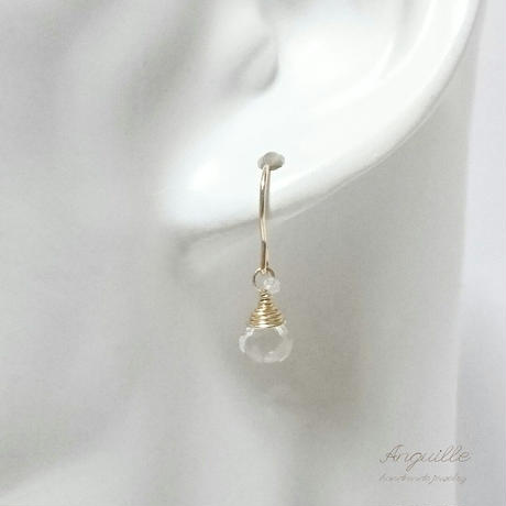 14kgf*Petite Earrings[Green Amethyst & White Topaz]*