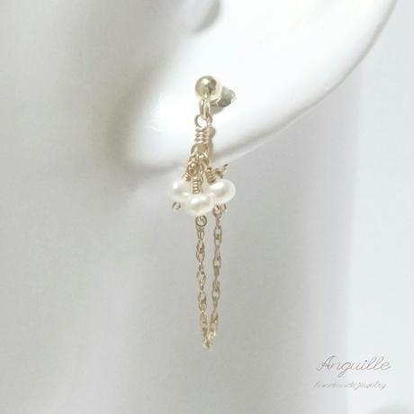 14kgf*Fresh Water Pearls Elegant Earrings*