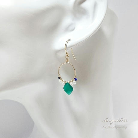 14kgf*Green Onyx & Fresh Water Pearls Circle Earrings*