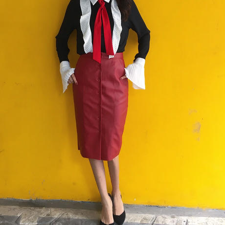 Leather Button SK RED