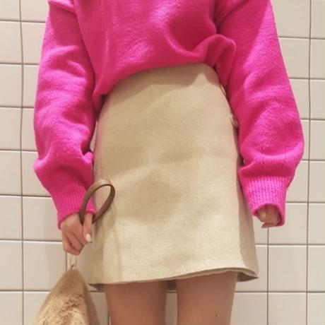 wool wrap button skirt / ivory