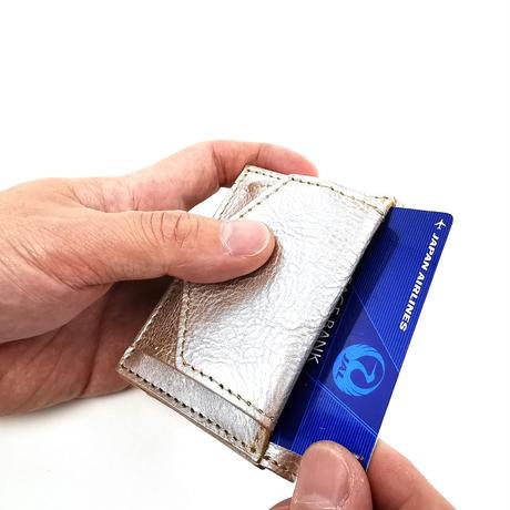 アマンダオイルレザーコンパクト財布 シルバー×ナチュラル AK20TA-B0004