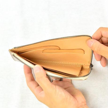 アマンダオイルレザーL字型スリム財布 シルバー×ナチュラル AK19TA-B0072