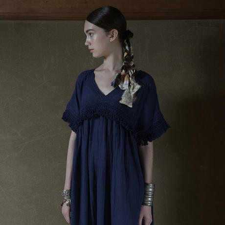 コットン・カディ/手紬手織り綿 マキシ丈 フリンジワンピース #2053004