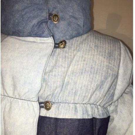 ウオッシュド デニム&先染めヒッコリーストライプ パッチワーク ダウンジャケット#1842026