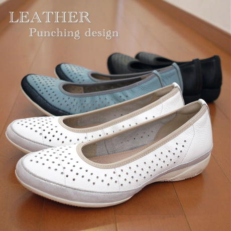 本革 レザー バレエシューズ レディース 靴 パンチング フラット 3e 低反発 柔らかい 痛くない