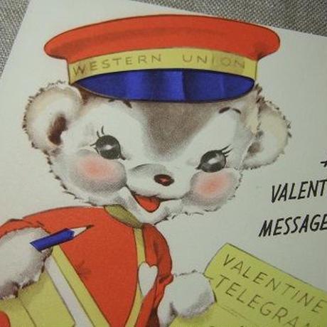 ヴィンテージバレンタインカード 犬の郵便屋さん c-263