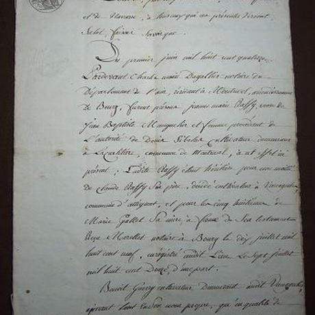 アンティーク古文書 フランス1814年公文証 c-279