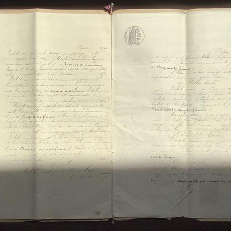 フランス古文書 1885年公文,法文書 全15ページ見開き4枚 c-308
