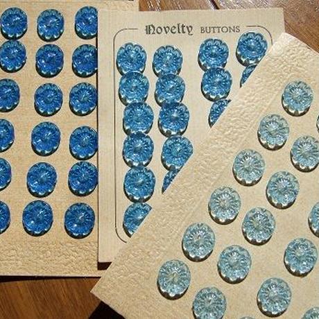 ブルー花ボタン  直径12mm 濃い青or淡い青or水色ボタン f-964