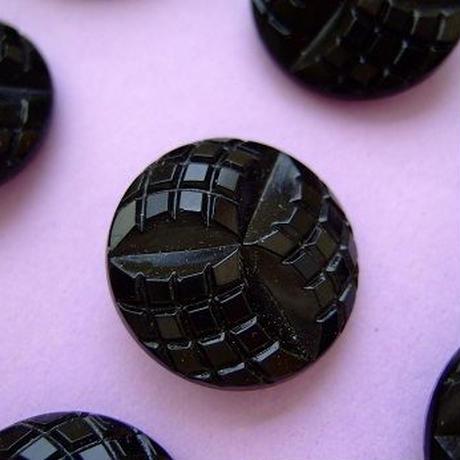 チェコガラスボタン ブラック 直径22mm f-719