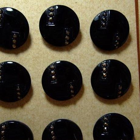 チェコガラスボタン ブラック&ゴールド 直径23mm f-718