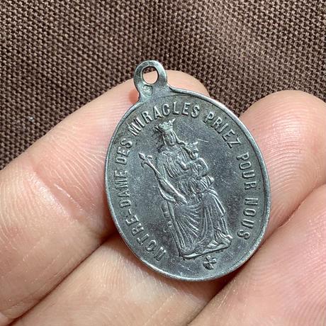 アンティークシルバーメダイ 奇跡の聖母と聖オメール フランス a-1475
