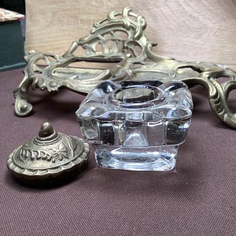 アンティークインクガラスとスズランのトレイ o-423